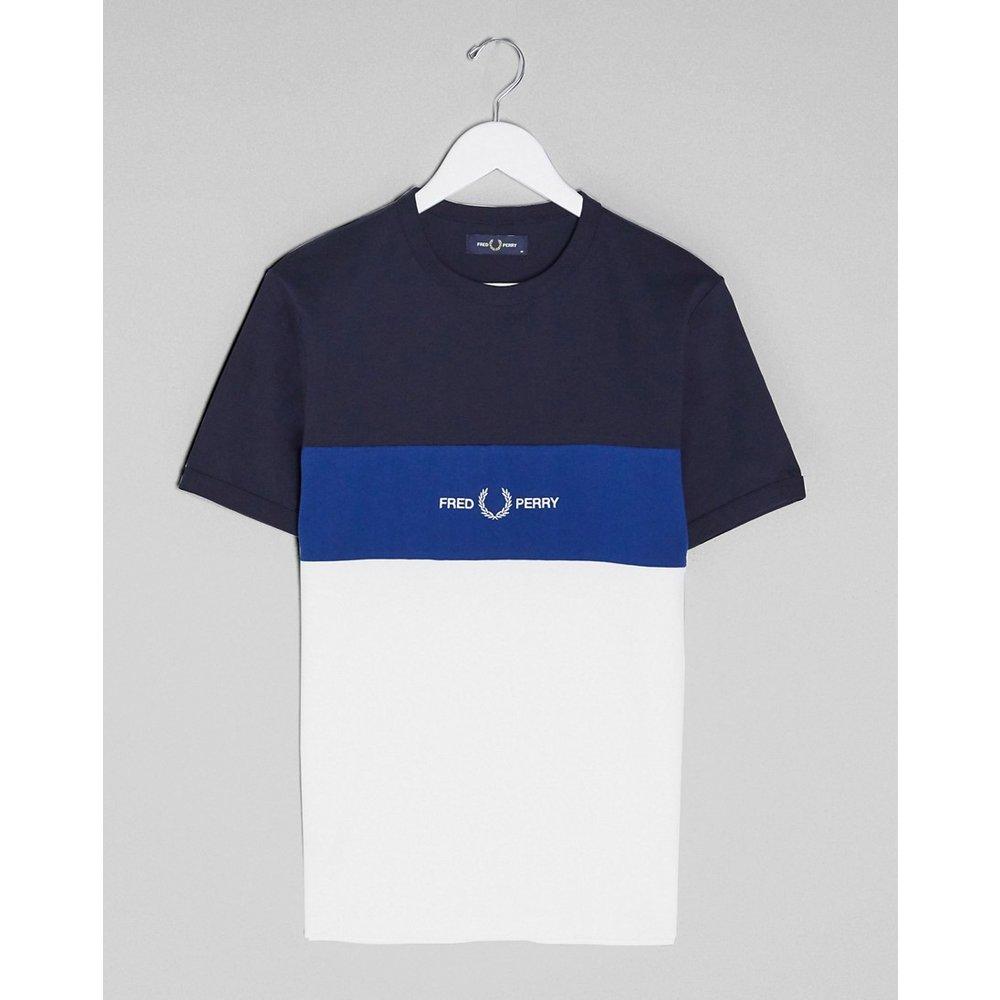 T-shirt colour block à logo - Bleu marine et blanc - Fred Perry - Modalova