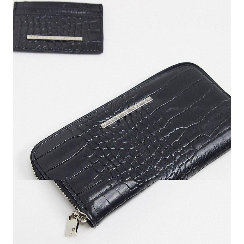 Coffret cadeau avec porte-monnaie et porte-carte effet peau de croco - French Connection - Modalova