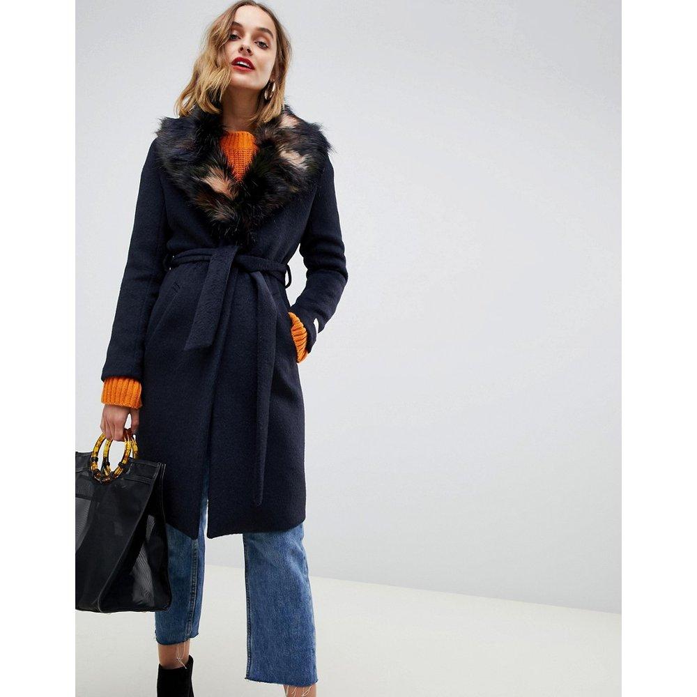 Manteau long avec col en fausse fourrure - Gianni Feraud - Modalova