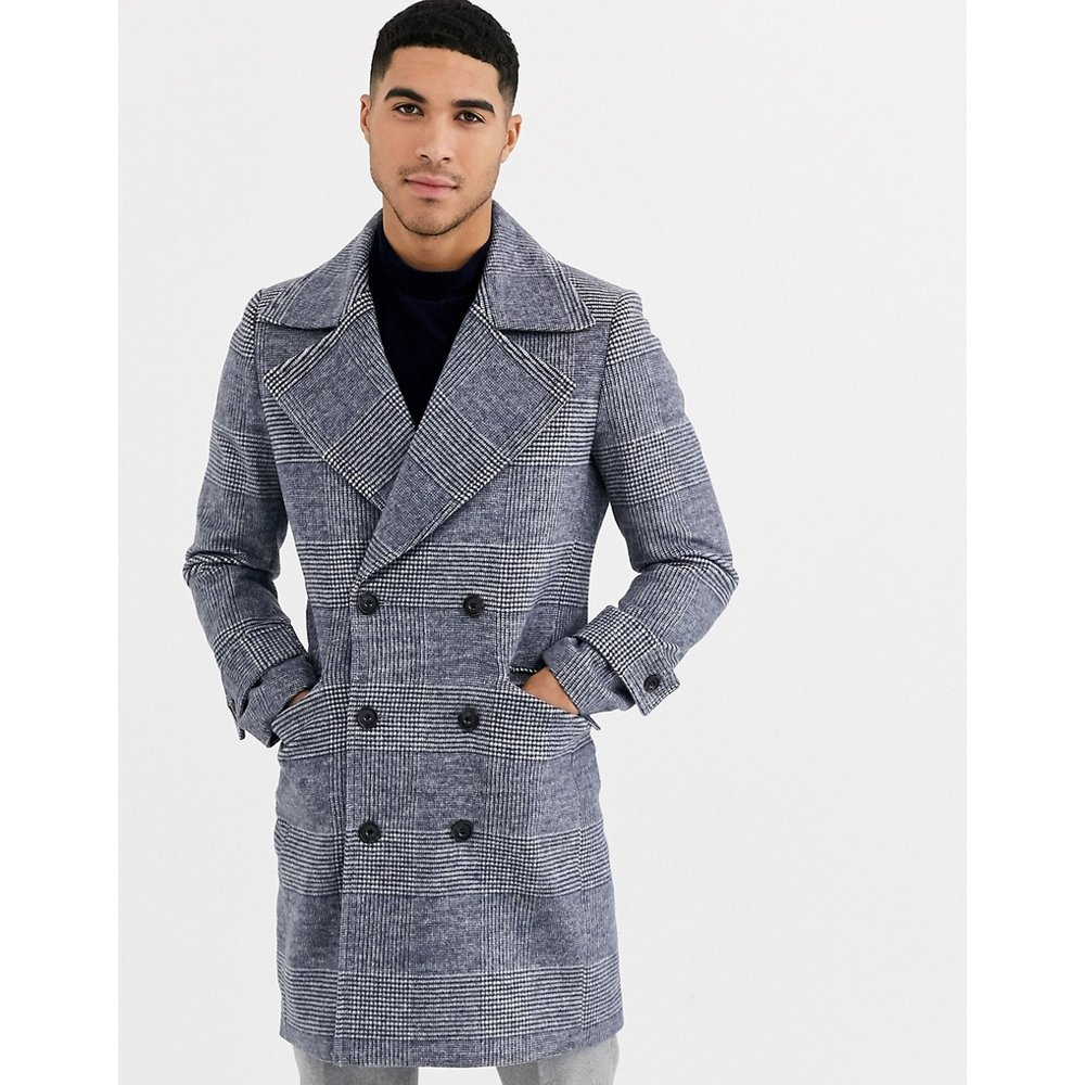 Manteau militaire oversize en laine mélangée à carreaux de qualité supérieure avec revers en pointe - Gianni Feraud - Modalova
