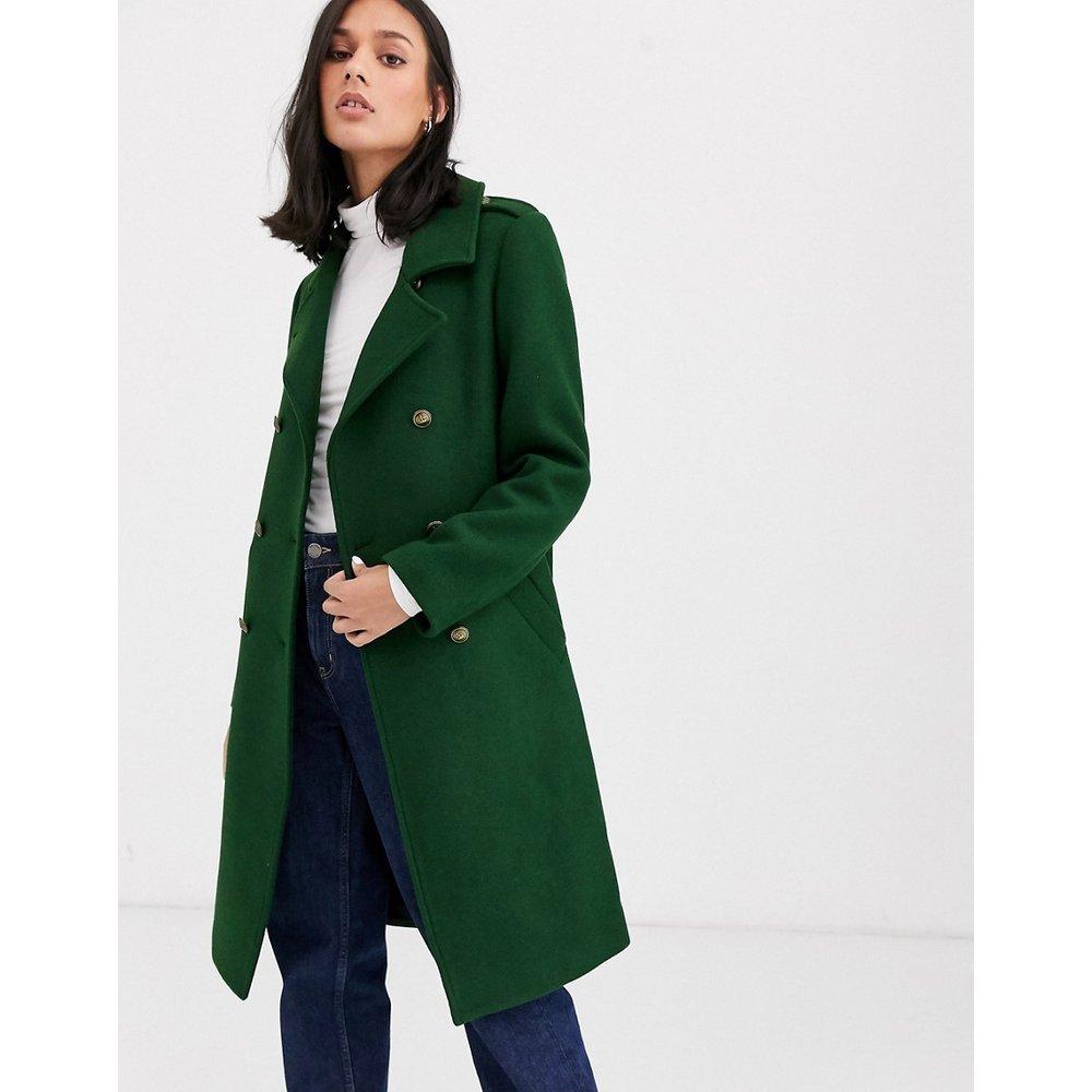 Manteau style militaire en laine mélangée à passepoils contrastants - Gianni Feraud - Modalova