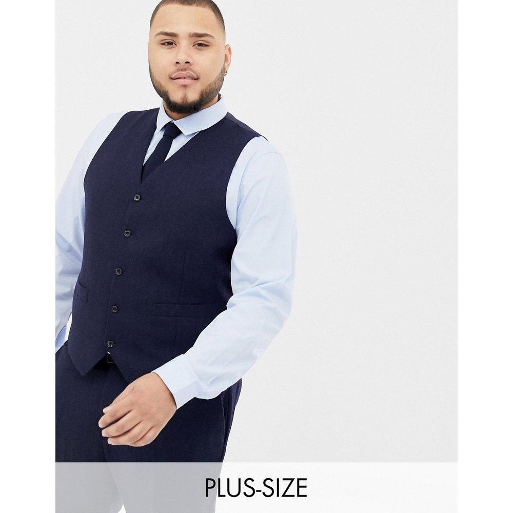 Plus - Veston de costume slim en laine mélangée à chevrons - Bleu marine - Gianni Feraud - Modalova
