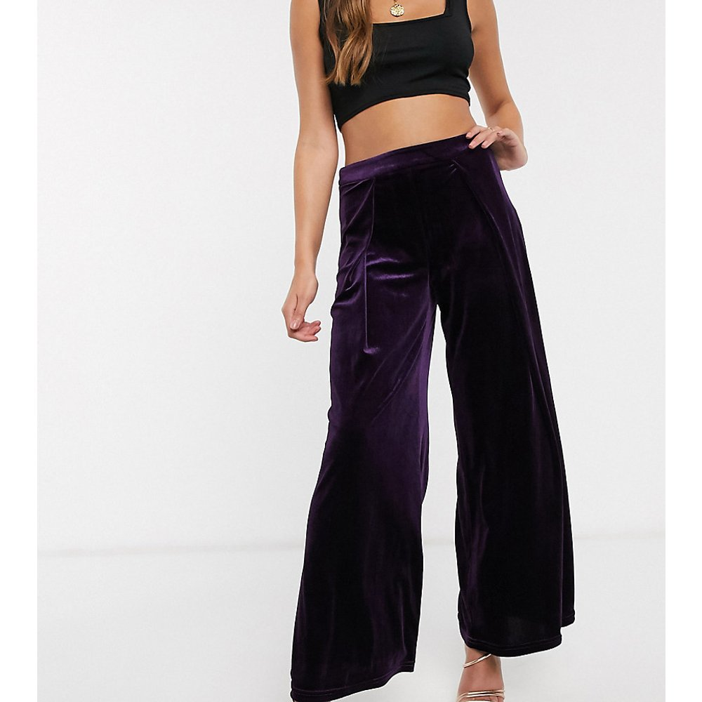 Pantalon large en velours - Glamorous Petite - Modalova