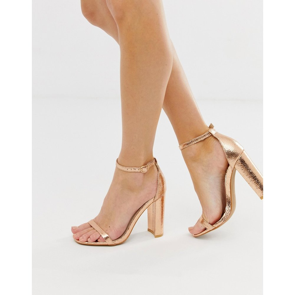 Sandales minimalistes à talon et bout carrés - Or rose - Glamorous - Modalova