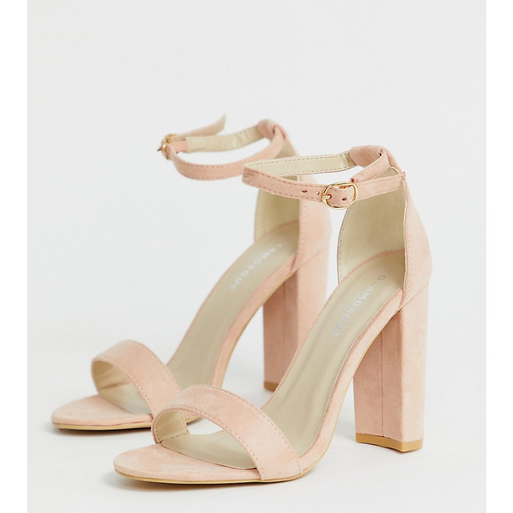 Glamorous - Sandales minimalistes pointure large à talons - Blush - Glamorous Wide Fit - Modalova