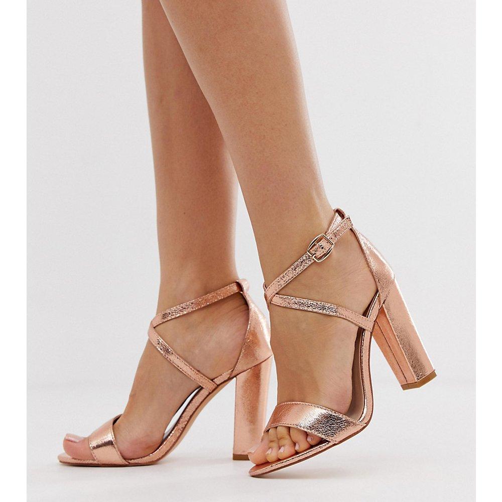 Glamorous - Sandales pointure large à talons et brides croisées - Or rose - Glamorous Wide Fit - Modalova