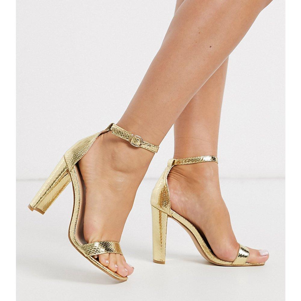 Sandales à talon minimalistes imitation serpent - métallisé - Glamorous Wide Fit - Modalova