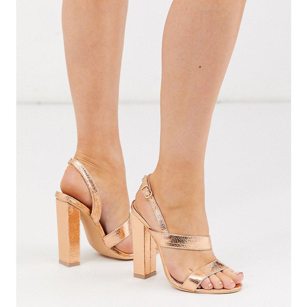 Sandales asymétriques à talon carré - Or rose - Glamorous Wide Fit - Modalova