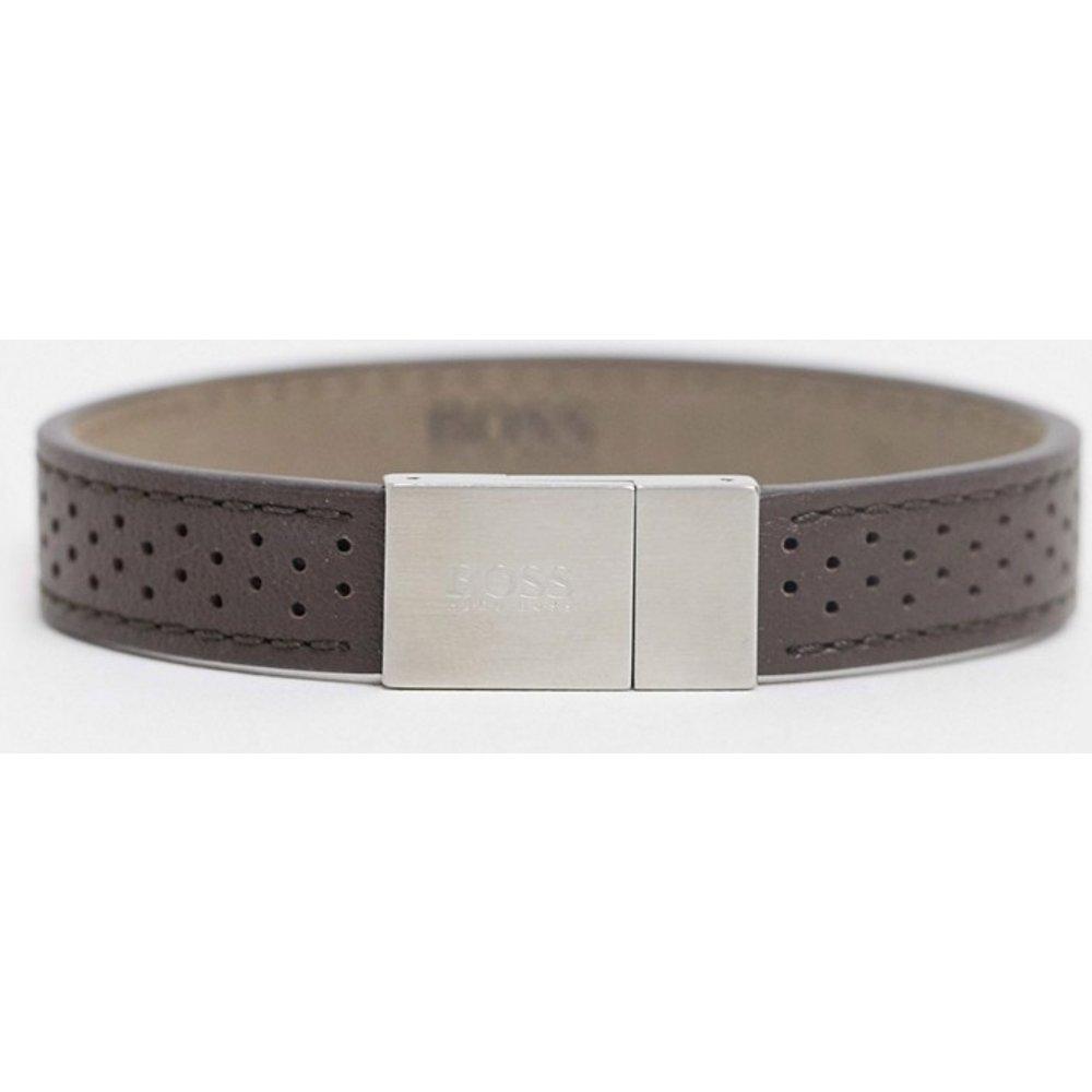 Hugo - Bracelet en cuir avec clip argenté - Boss - Modalova