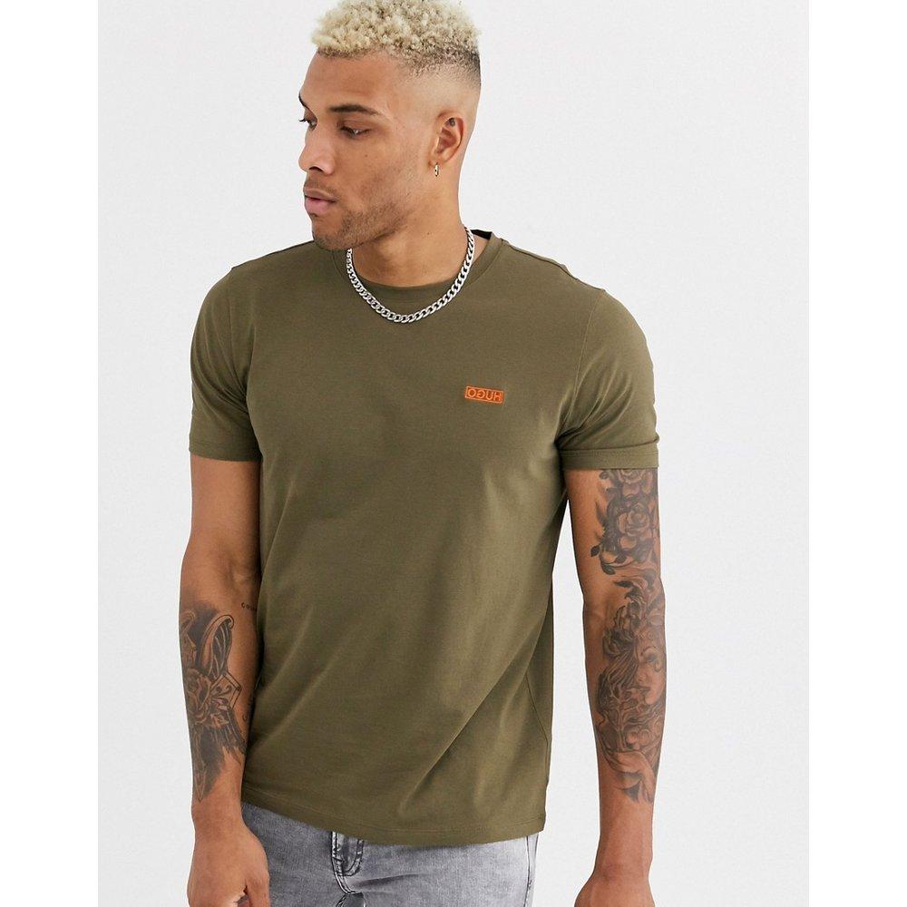Dero - T-shirt à logo brodé contrastant - Kaki - HUGO - Modalova