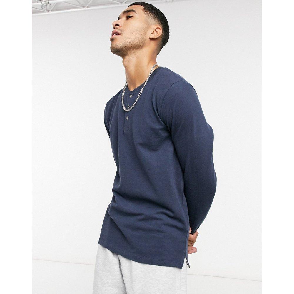 Essentials -T-shirt à manches longues et col tunisien - Bleu marine - jack & jones - Modalova