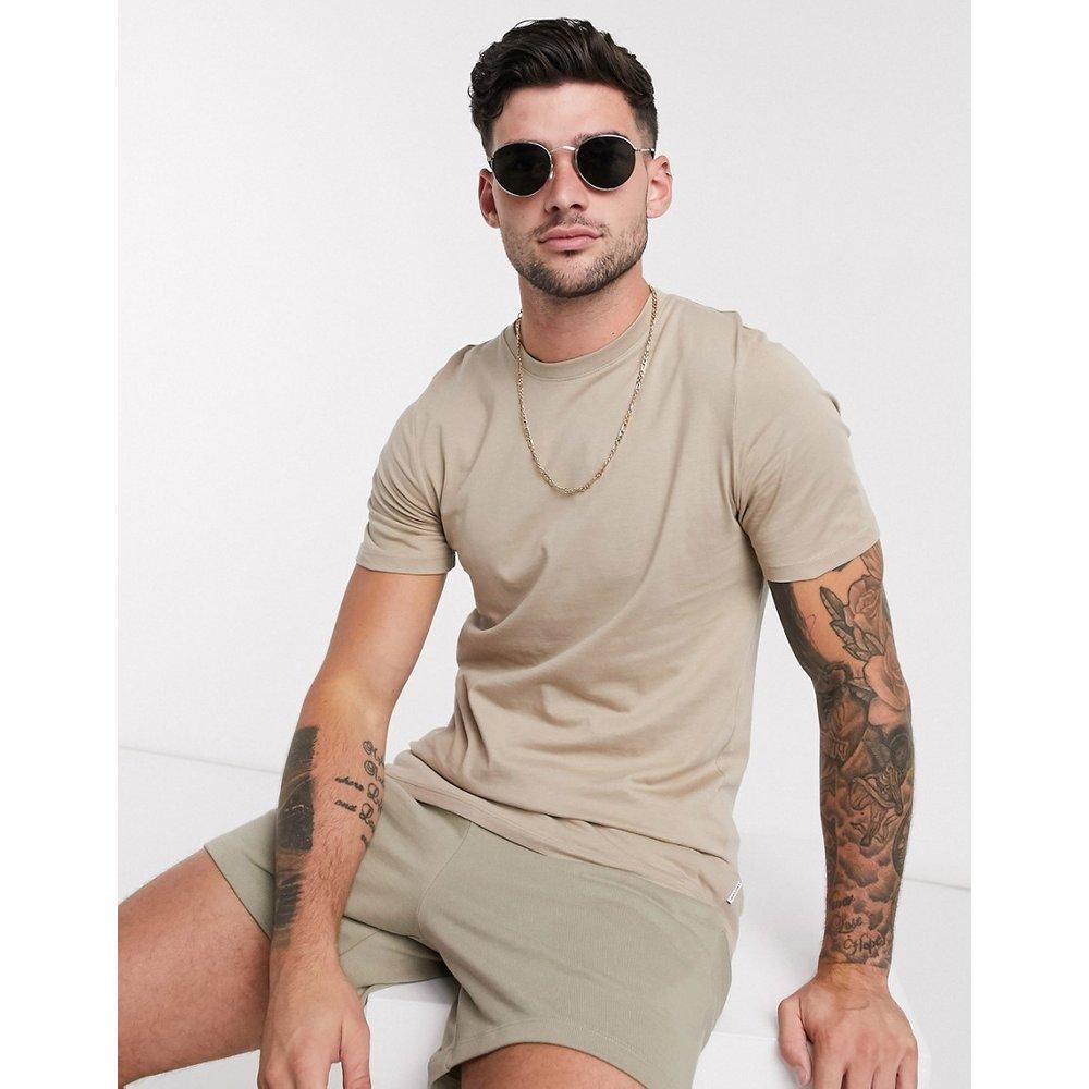 Essentials - T-shirt en coton biologique à col ras de cou - Taupe - jack & jones - Modalova
