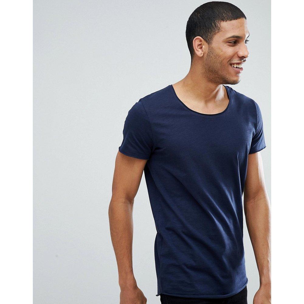 Essentials - T-shirt long à encolure dégagée - Bleu marine - jack & jones - Modalova