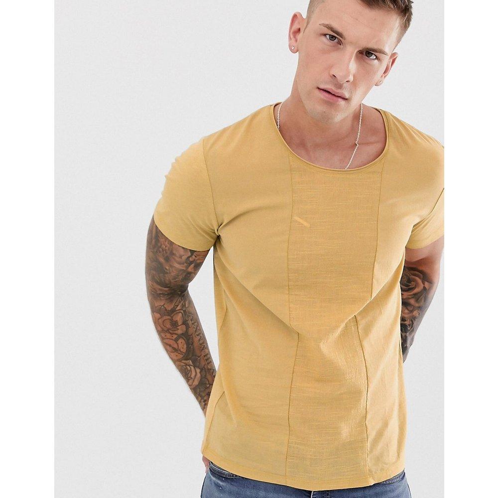 Premium - T-shirt avec empiècement en crêpe - Jaune - jack & jones - Modalova