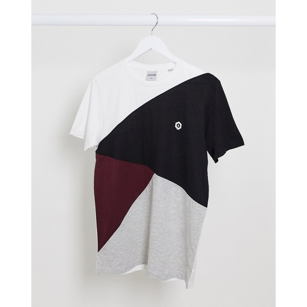 T-shirt effet coupé cousu en diagonale - jack & jones - Modalova