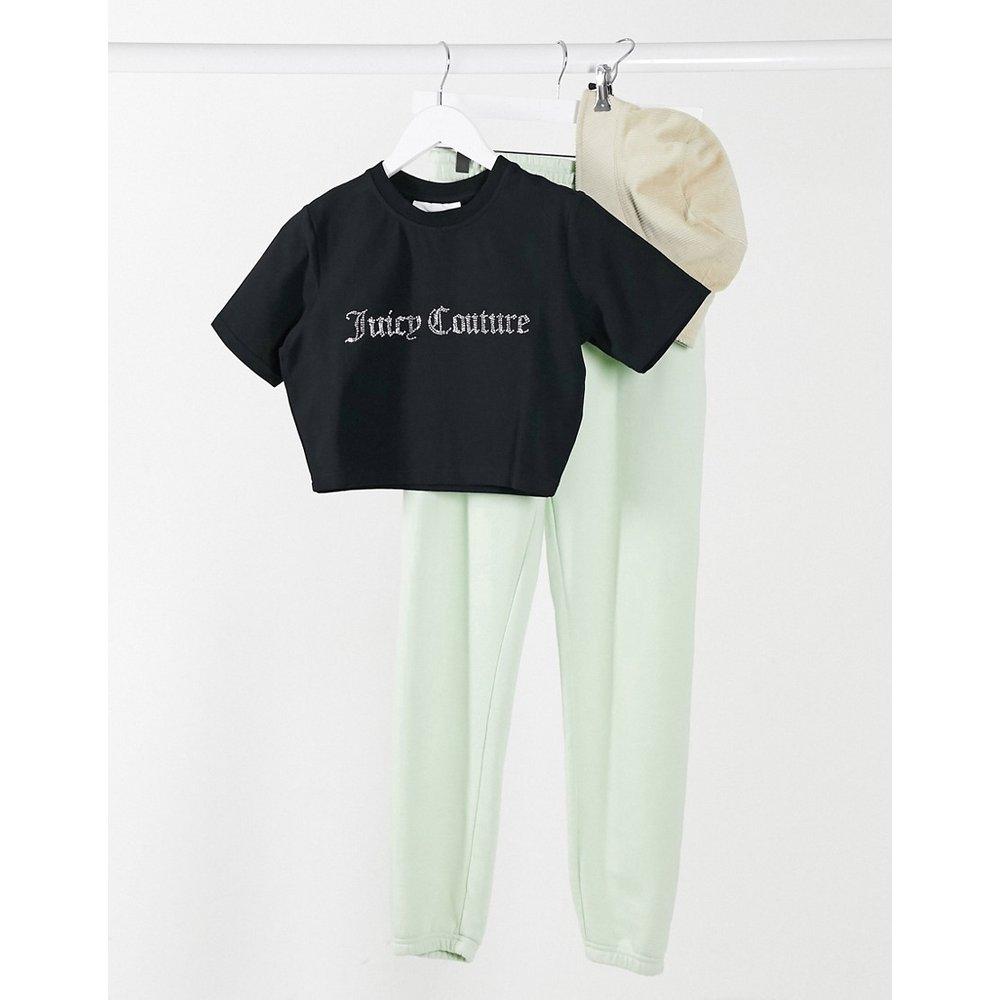 T-shirt crop top avec logo en strass - Juicy Couture - Modalova