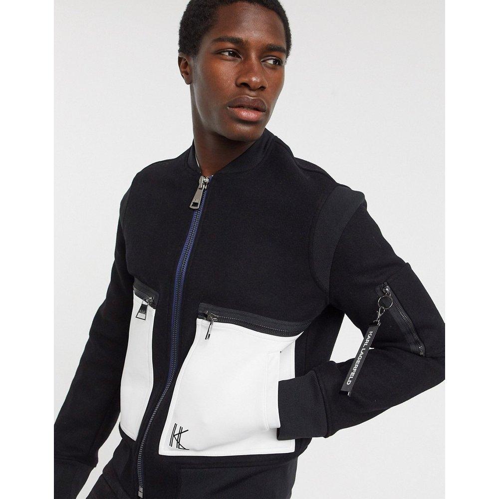 Bomber en laine avec poches en cuir - Karl Lagerfeld - Modalova