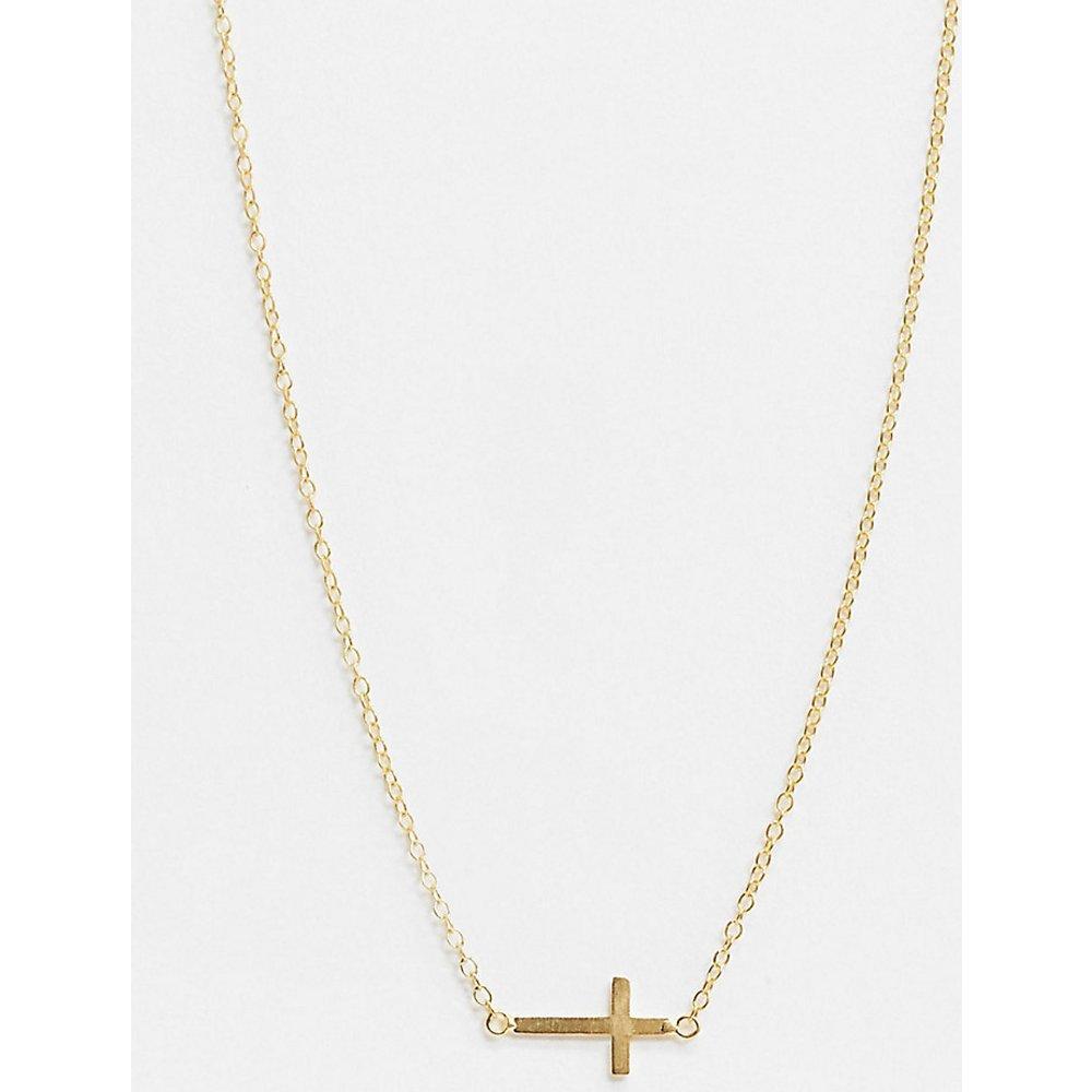 Collier en argent massif plaqué or avec pendentif croix - Kingsley Ryan - Modalova