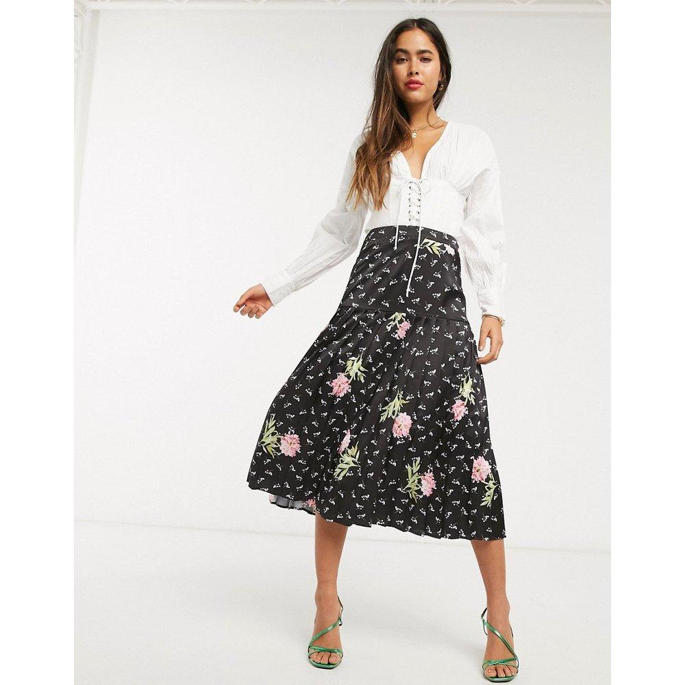 Jupe mi-longue à fleurs - Rose - Liquorish - Modalova