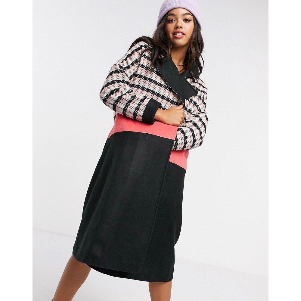 Manteau droit à carreaux avec taille contrastante - Liquorish - Modalova