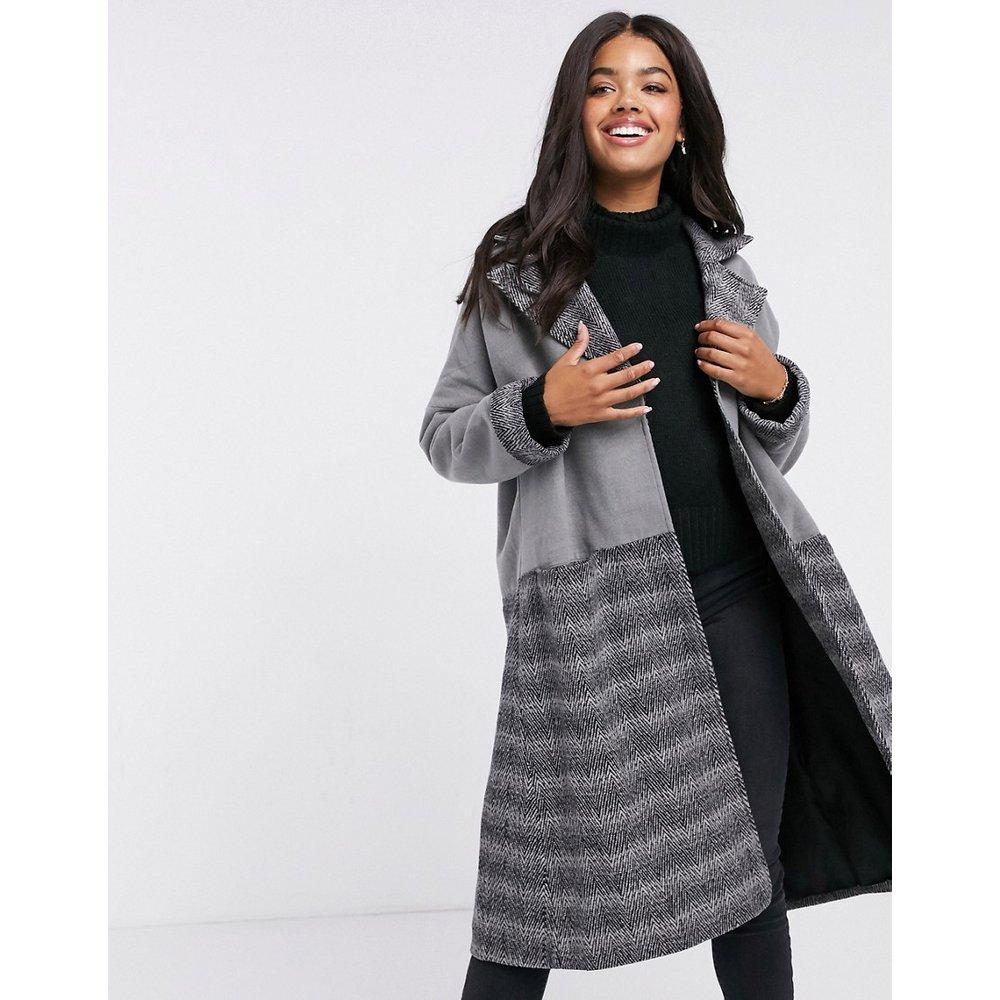Manteau droit oversize à carreaux contrastants - Liquorish - Modalova