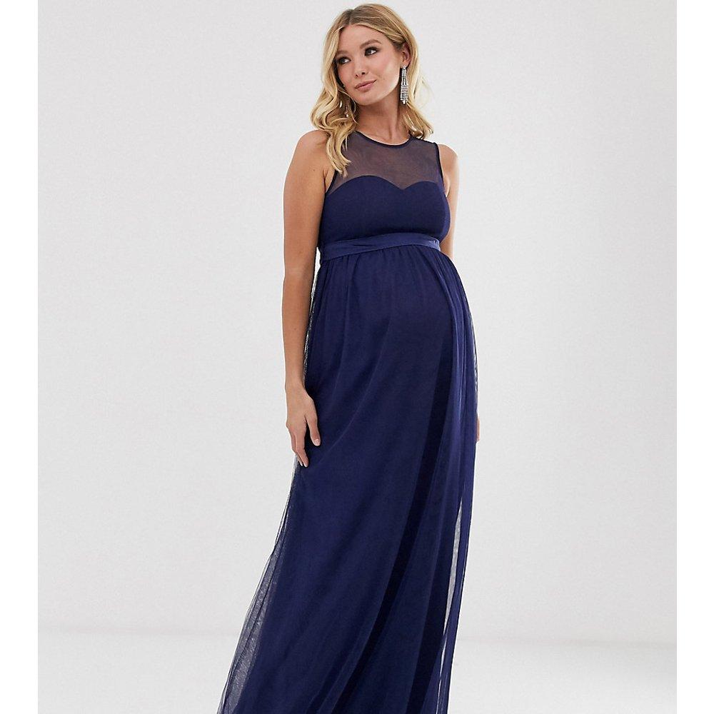 Robe longue à empiècement en tulle - Bleu marine - Little Mistress Maternity - Modalova