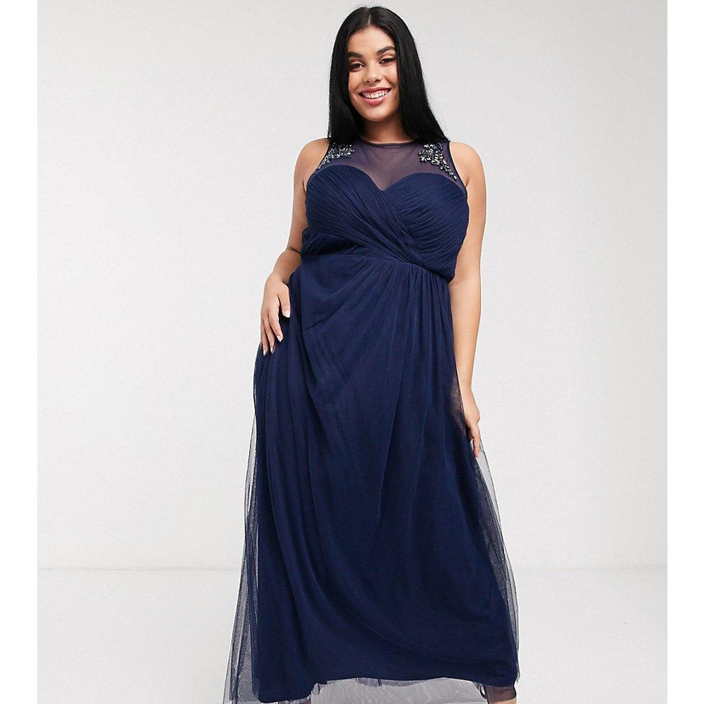 Robe longue plissée avec dentelle et ornements - Bleu marine - Little Mistress Plus - Modalova