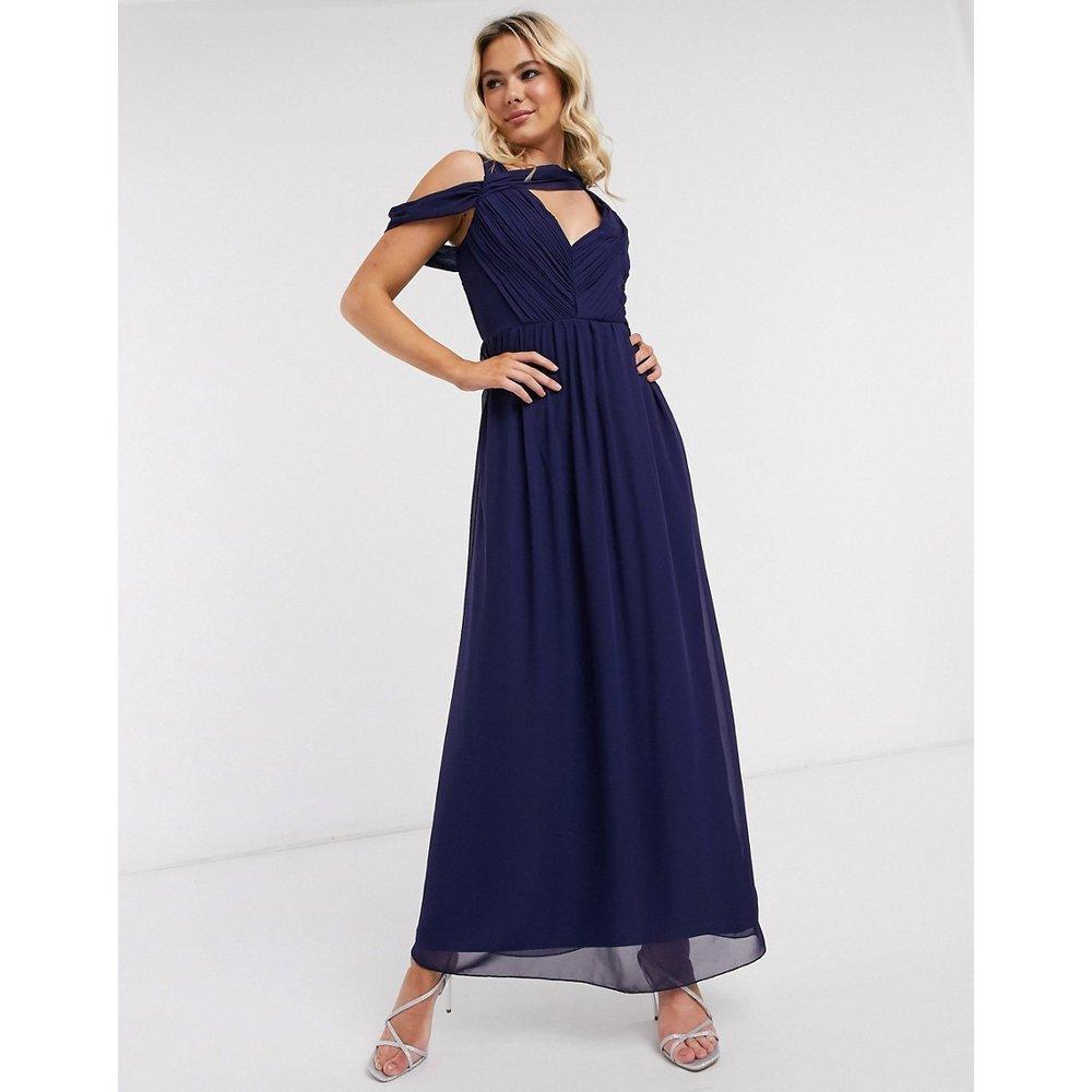 Robe longue drapée - Bleu marine - Little Mistress - Modalova