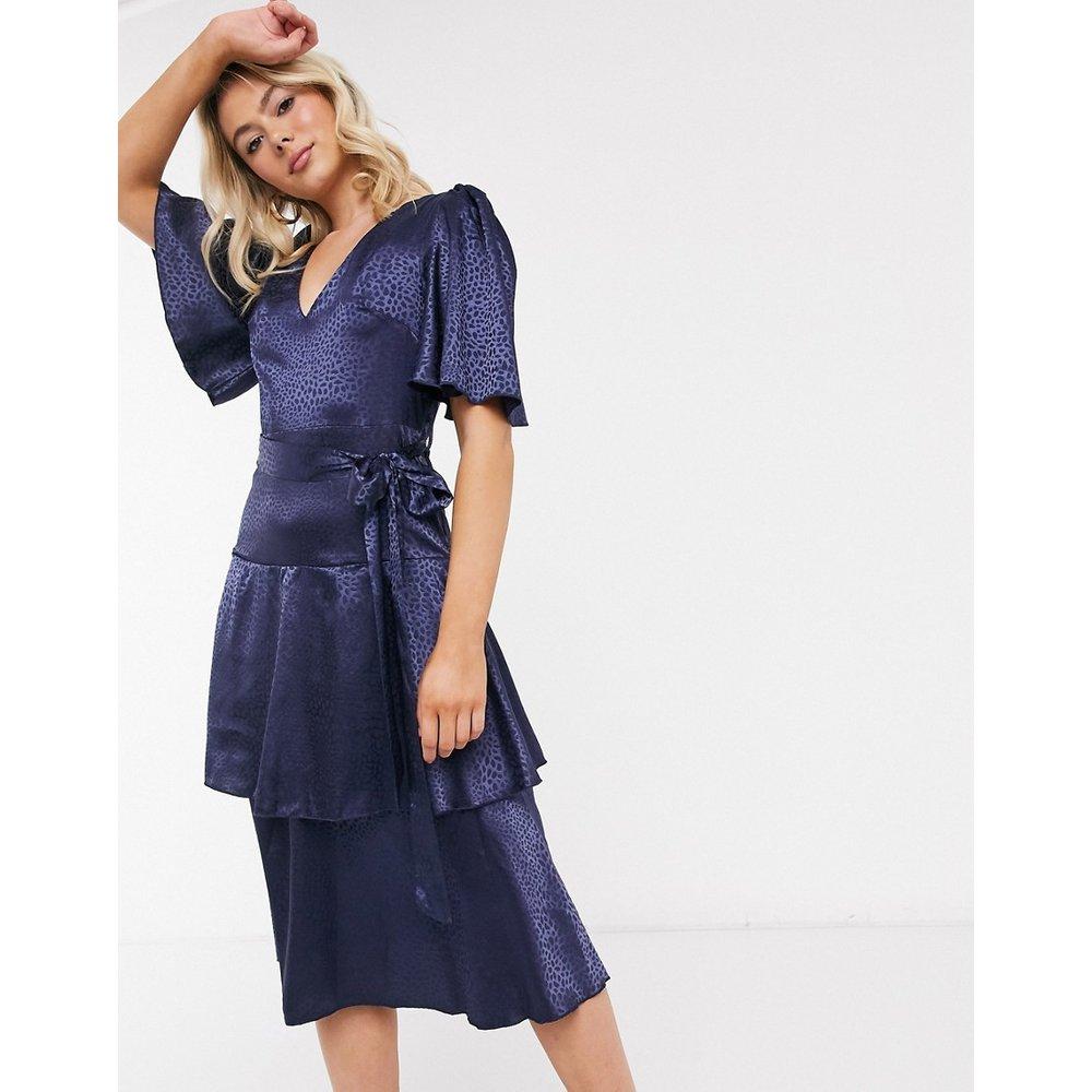 Robe mi-longue en satin à volants - Bleu marine - Little Mistress - Modalova