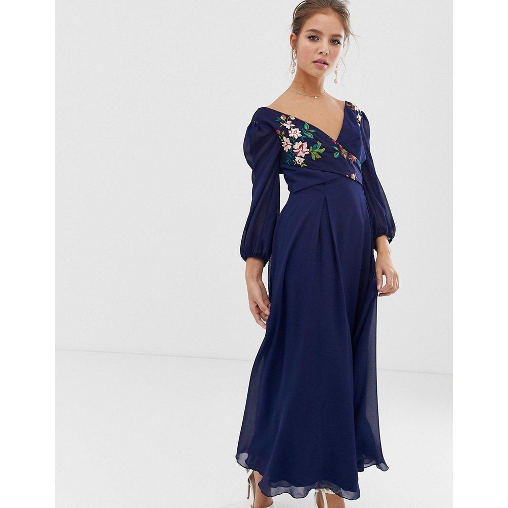 Robe patineuse mi-longue à fleurs brodées - Bleu marine - Little Mistress - Modalova