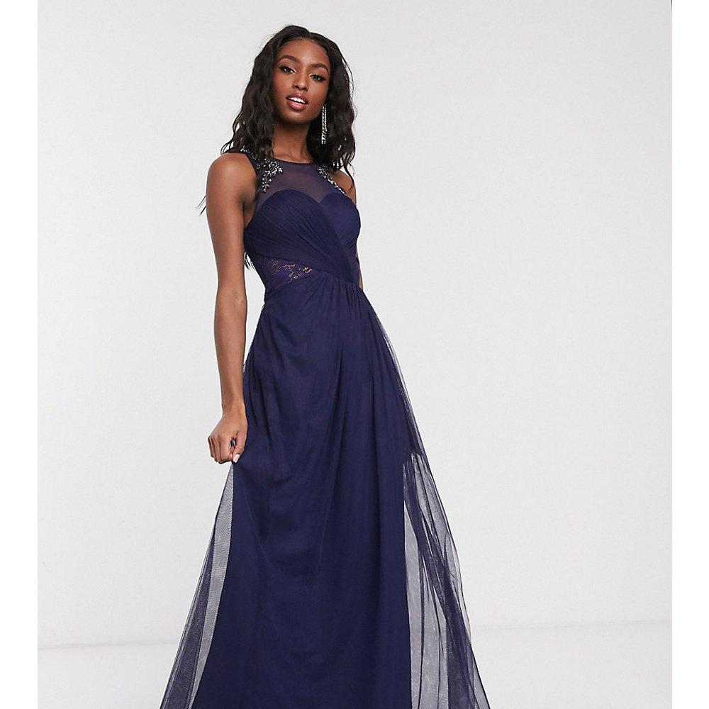 Robe longue plissée avec ornement et dentelle - Bleu marine - Little Mistress Tall - Modalova