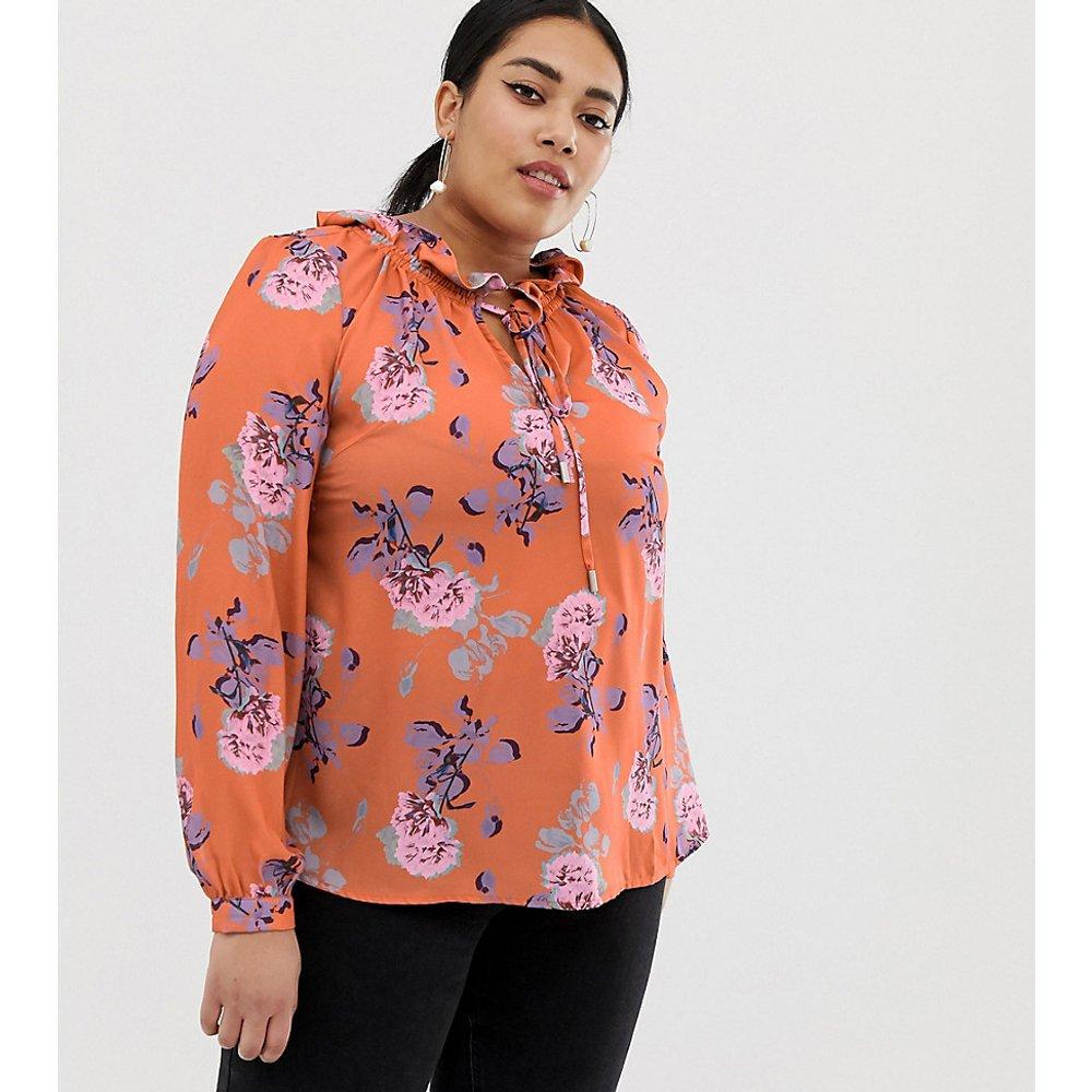 Blouse avec lien à l'encolure et motif floral de couleur vive - Lost Ink Plus - Modalova