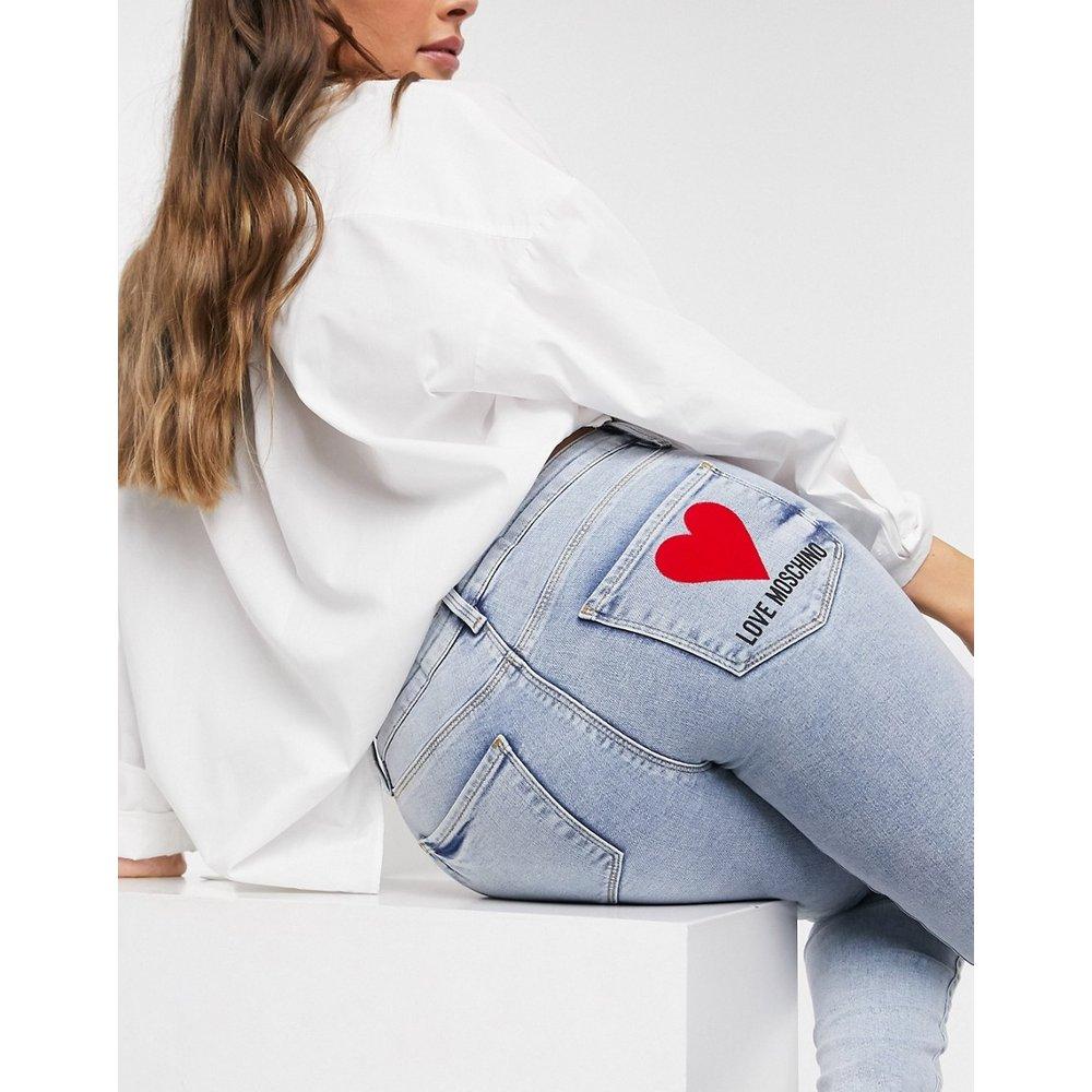 - Jean skinnyavec poche à logo - clair - Love Moschino - Modalova