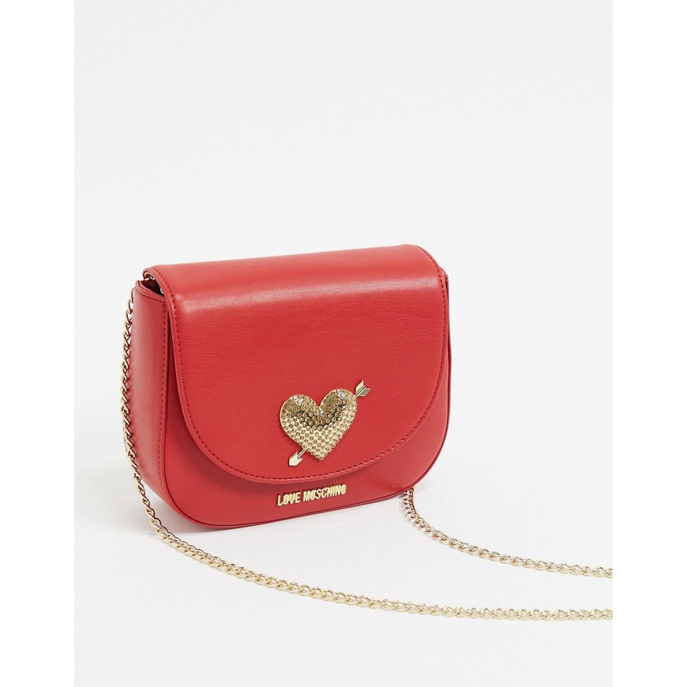 Mini sac bandoulière avec cœur métallique - Love Moschino - Modalova