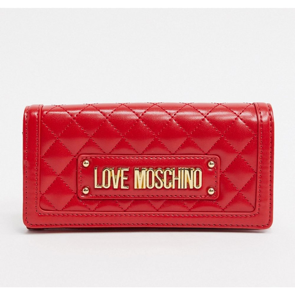 Porte-monnaie matelassé à bandoulière chaîne - Love Moschino - Modalova