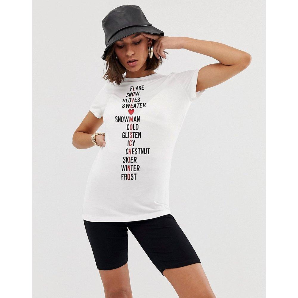 Snow - T-shirt à logo style mots croisés - Love Moschino - Modalova