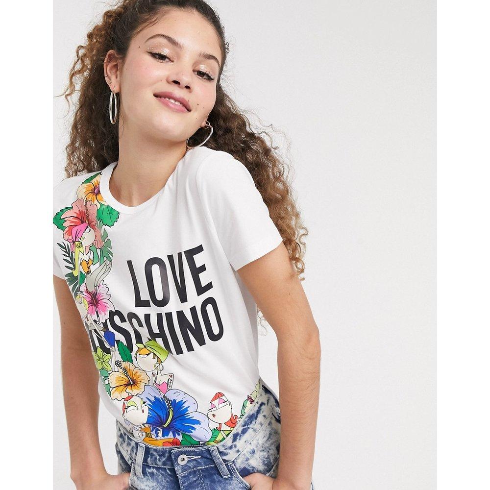 T-shirt à imprimé fleuri tropical avec logo - Love Moschino - Modalova