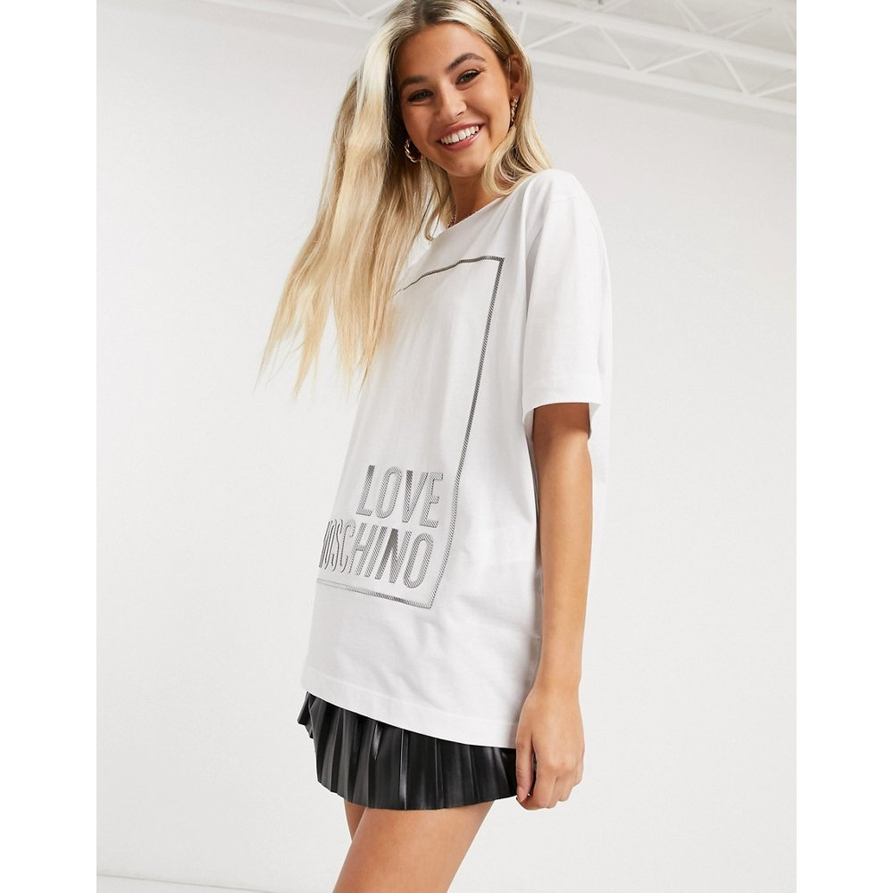 T-shirt à logo encadré métallisé - Love Moschino - Modalova