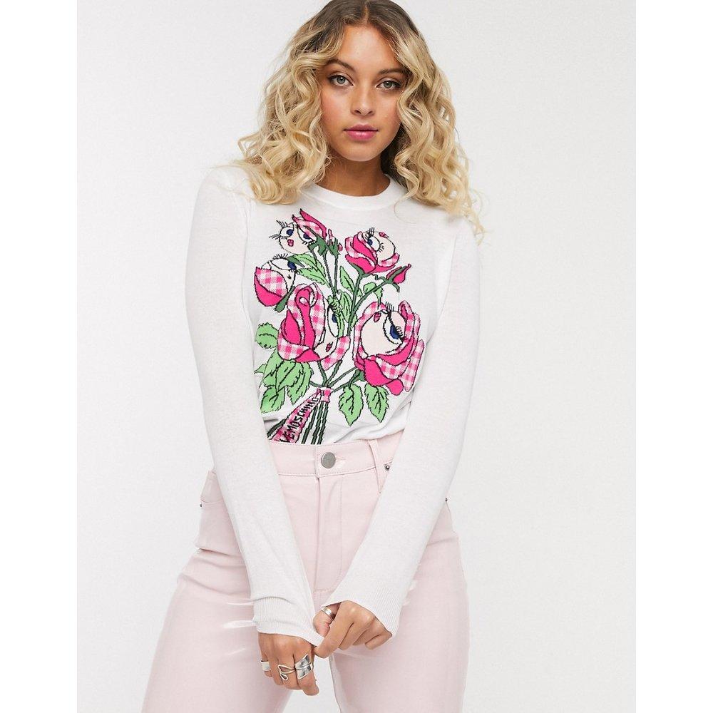 T-shirt manches longues à imprimé floral graphique - Love Moschino - Modalova