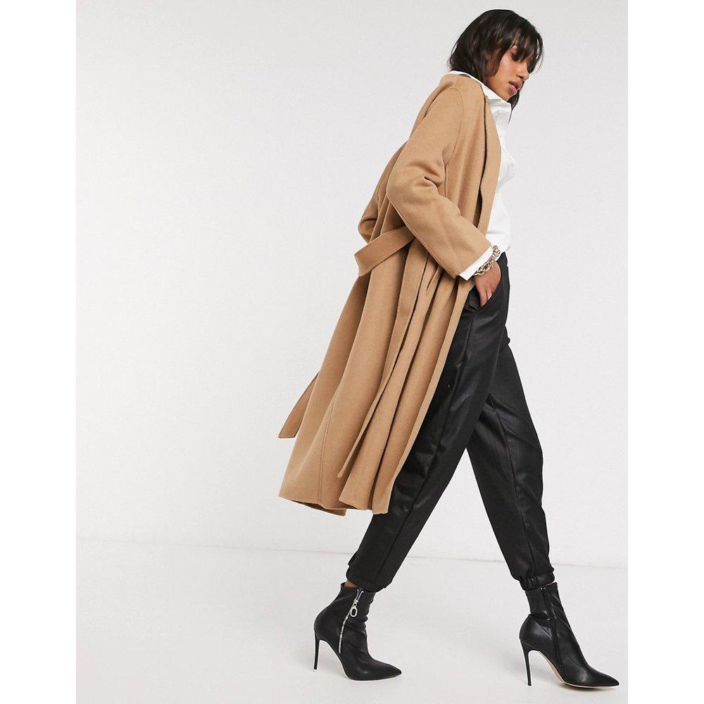 Manteau ajusté noué à la taille - Fauve - Mango - Modalova