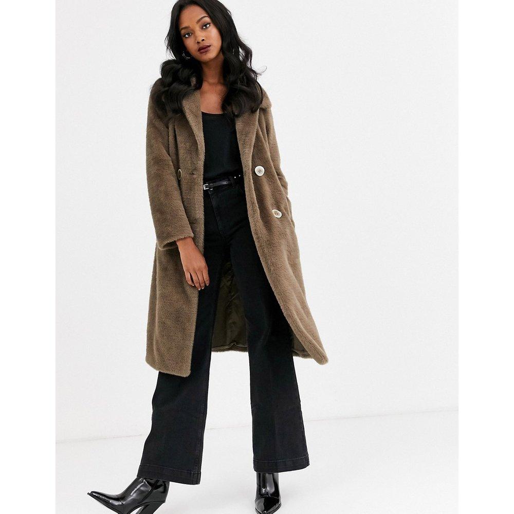 Manteau long en fausse fourrure - Taupe - Mango - Modalova