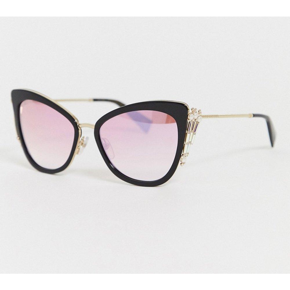 Lunettes de soleil yeux de chat ornées de cristaux avec verres miroir - Marc Jacobs - Modalova