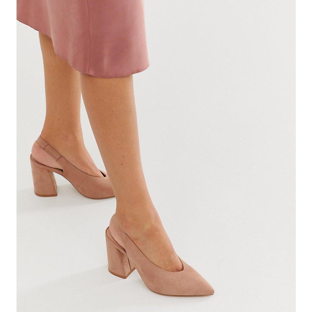Chaussures à talons carrés et bride arrière - Nude - Miss Selfridge - Modalova