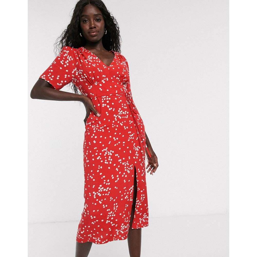 Robe mi-longue à pois - Rouge - Miss Selfridge - Modalova