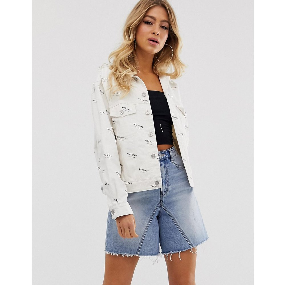 Veste en jean avec logos sur l'ensemble - Miss Sixty - Modalova