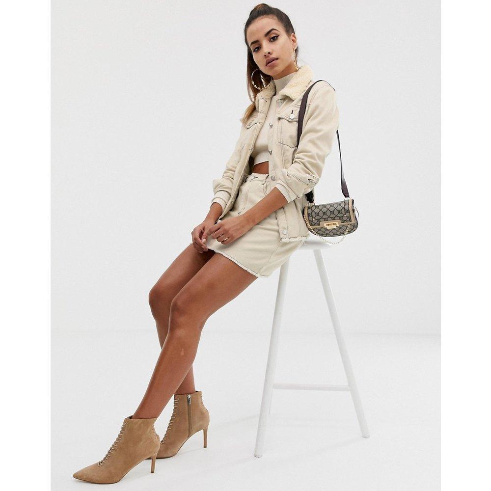 Jupe d'ensemble trapèze en jean avec couture contrastante - Écru - Missguided - Modalova