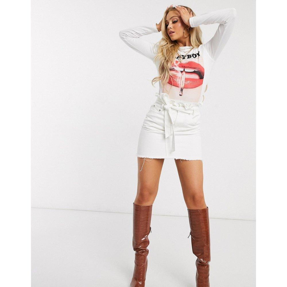 Jupe en jean à taille haute froncée - Missguided - Modalova