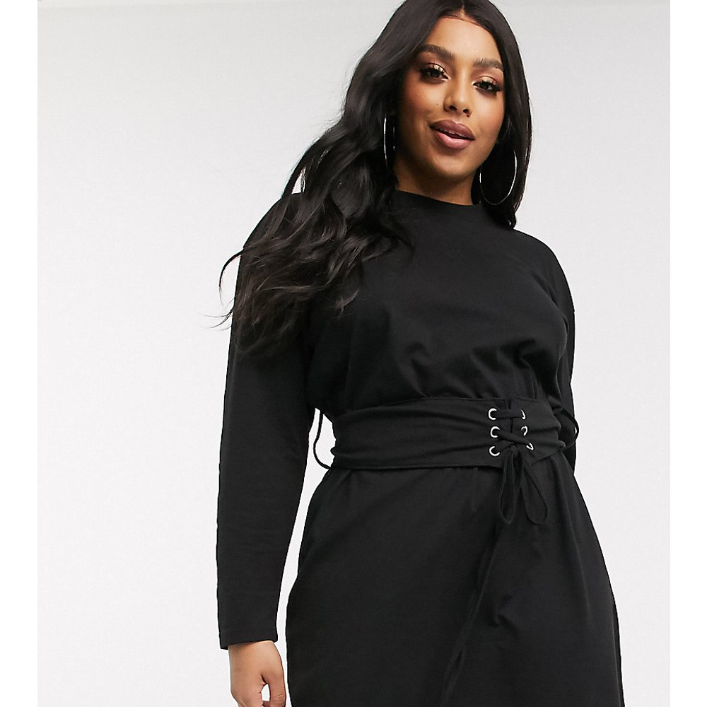 Robe t-shirt à détail corset - Missguided Plus - Modalova