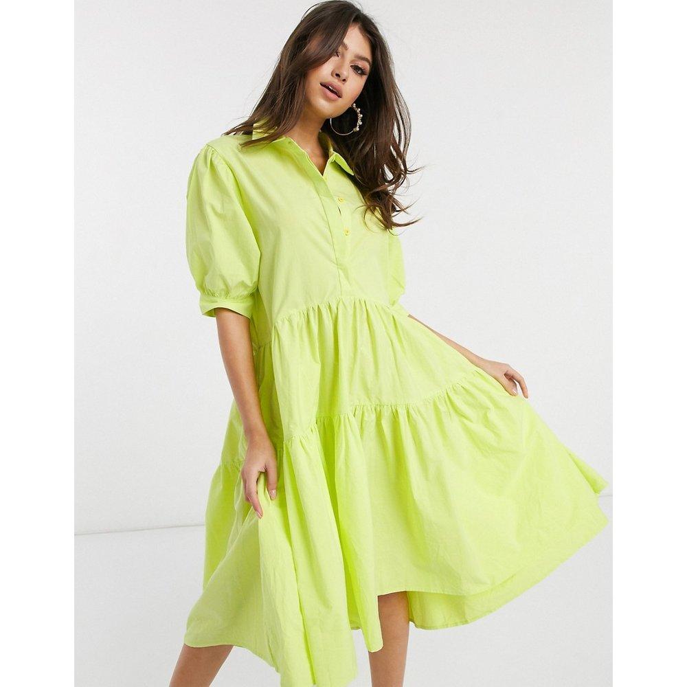 Robe chemise babydoll mi-longue - Citron - Missguided - Modalova