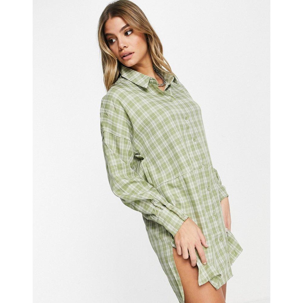 - Robe chemise oversizeà carreaux vichy - Sauge - Missguided - Modalova